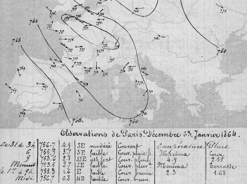 Синоптическая карта XIX века