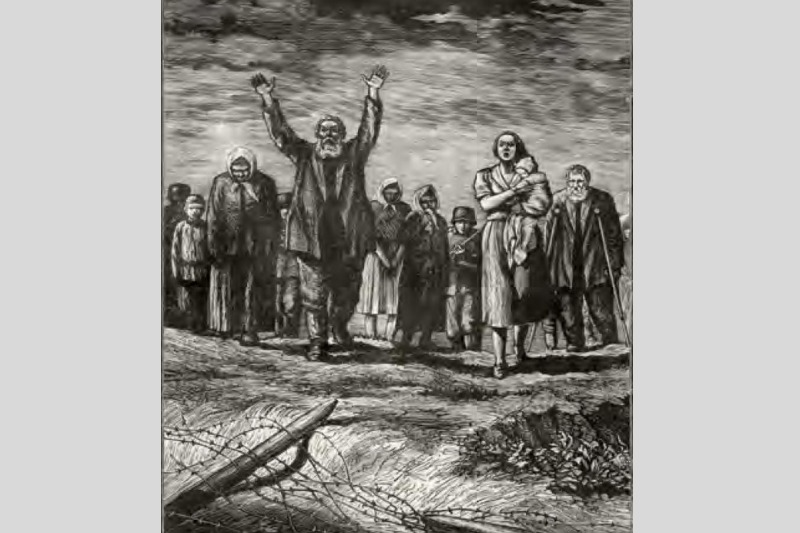 Михаил Поляков. «За живой стеной». 1943 г.