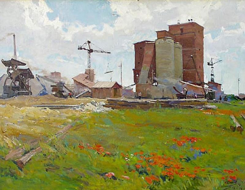 Г. А. Булгаков. «На рубероидном заводе». 1958 г.