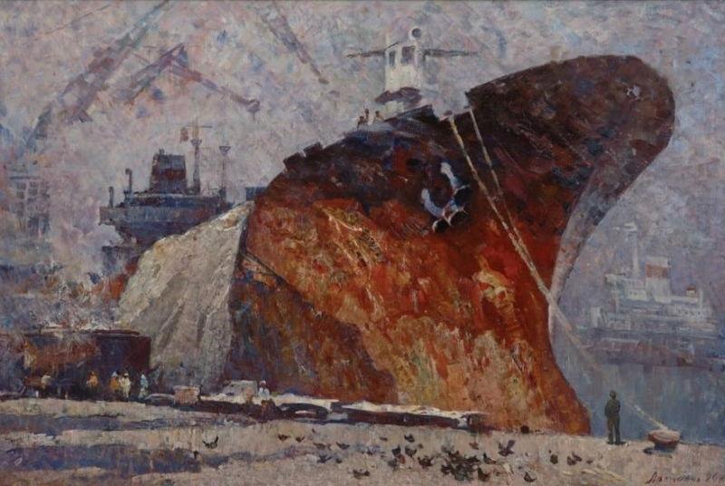 Г. Г. Аракелян. «Новороссийск – порт мира. Хлеб идёт». 1983 г.