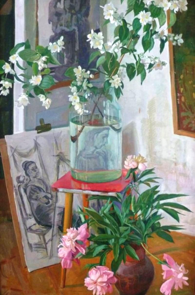 Тихая жизнь_Д. Д. Жилинский. «Натюрморт с цветами и рисунком». 1978 г.